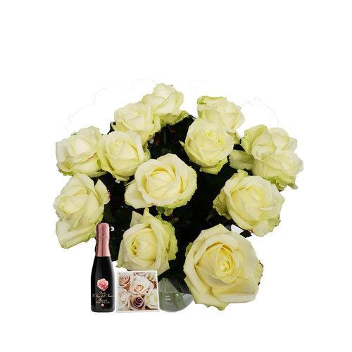 Rozen.nl 20 White Roses offer + champagne + card
