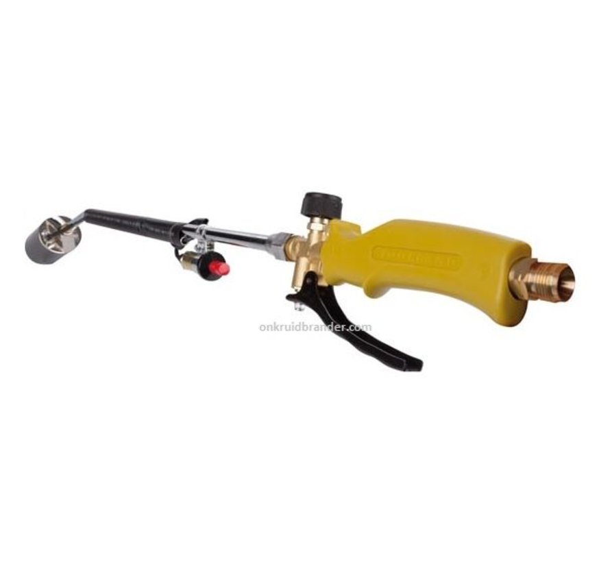 Gas weed burner with Piezo ignition, gas hose and pressure regulator