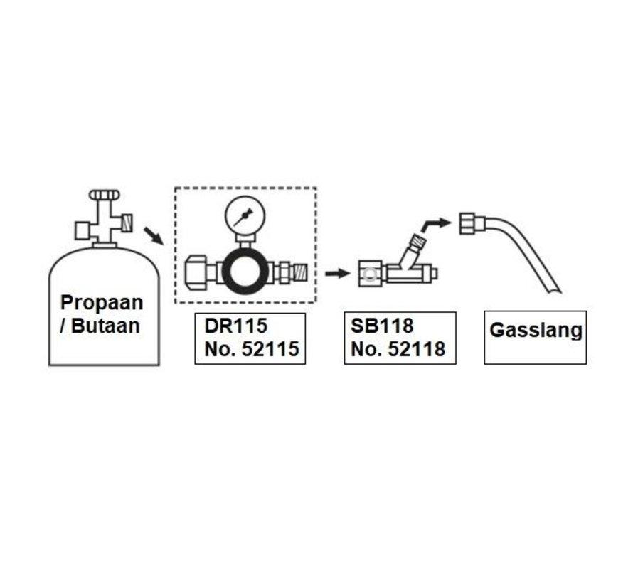 DR115 instelbare drukregelaar 1 - 4 bar met manometer