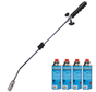 Gas weed burner set with 4x gas cylinders and Piezo ignition