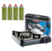 Kemper Portable gas cooker, single burner with 4x FREE gas cylinders