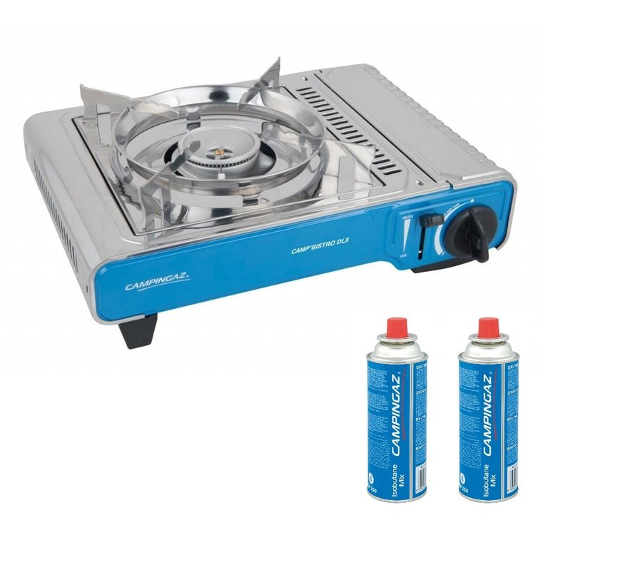 Camp'Bistro DLX camping cooking set with two gas bottles
