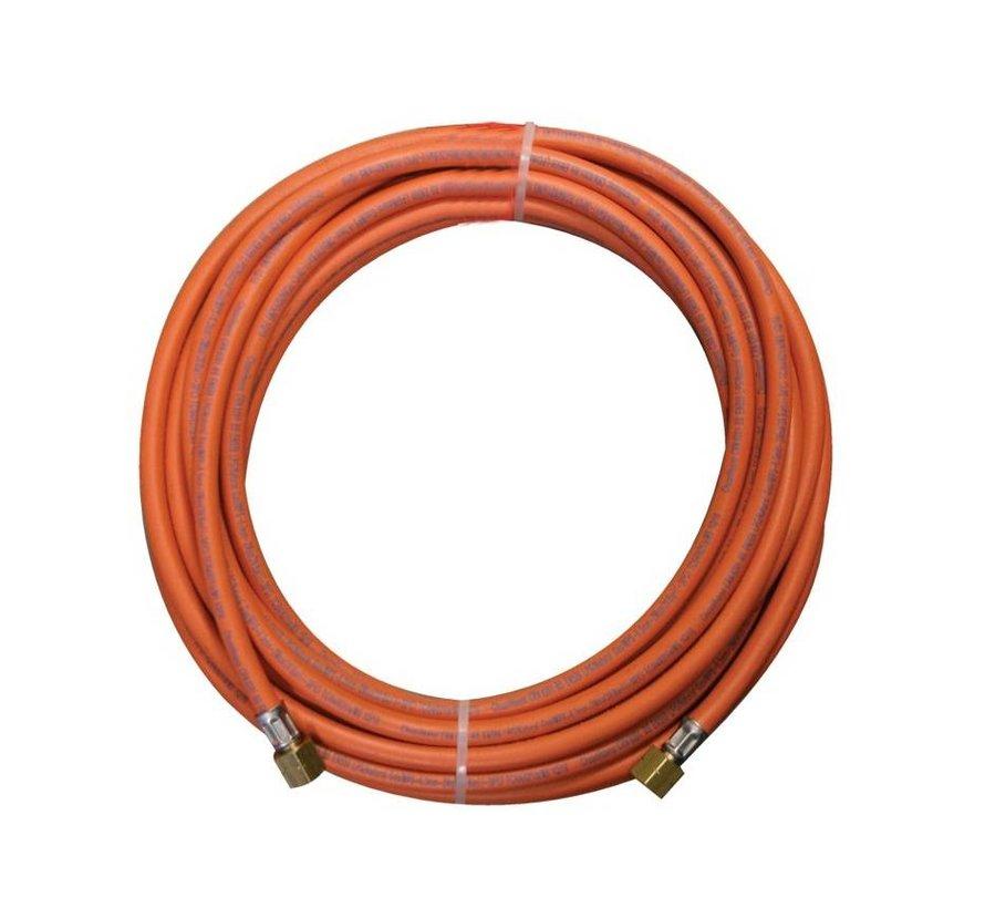Rubberen gasslang met lengte van 20 meter inclusief 3/8 koppelingen
