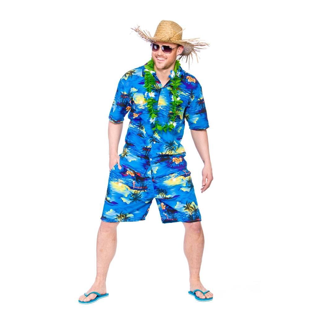Hawaii shirt met broek blauwe palmboom