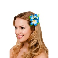 Haarclip hawaii bloem blauw