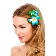 Haarclip hawaii bloem licht blauw