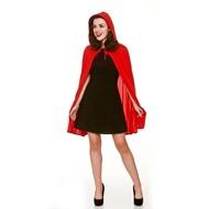 Lange rode cape met kap