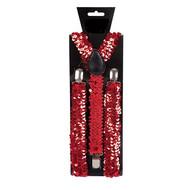 Rode bretel met pailletten