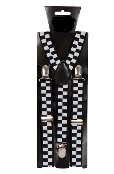 Zwart wit geblokte verstelbare bretels