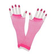 Vingerloze lange net-handschoenen neon roze