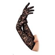 Kanten handschoenen lang in zwart