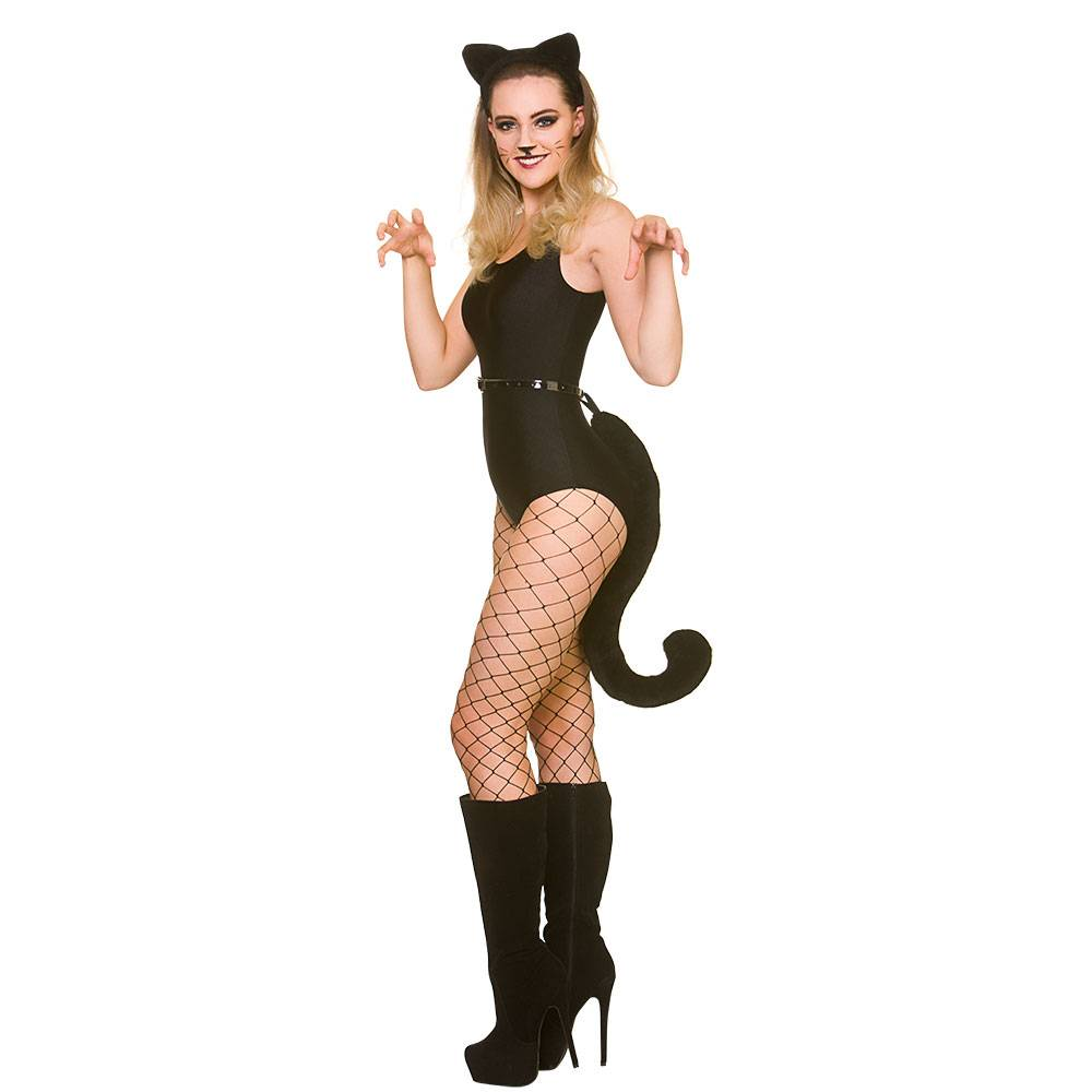 Zwarte katten oren en jumbo zwarte staart
