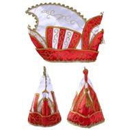 Prinsenmuts rood/wit goud galon