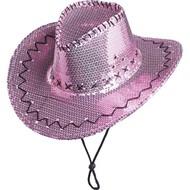 Roze cowboyhoed met pailletten