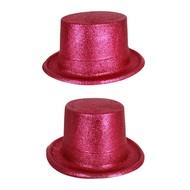 Hoge hoed glitter pink