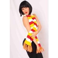 Sjaal rood/wit/geel gebreid