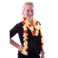 Schelpjes sjaal rood/wit/geel 150 cm