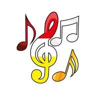 Applicaties muzieknoten 4 st op kaart Oeteldonk