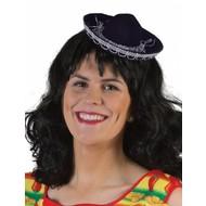 Mini sombrero zwart 17cm