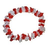 Hawaii bloemenkrans rood wit