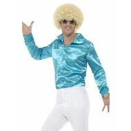Blauw glanzend disco shirt heren