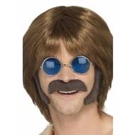 Bruine hippie snor met bakkebaarden