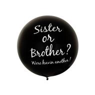 Zwarte megaballon Sister or brother 91.4cm