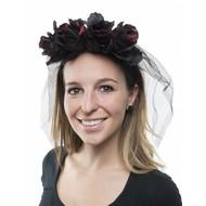 Doodsbruid hoofdband met zwarte rozen en sluier