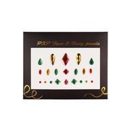 Plakjuwelen rood-goud en groen