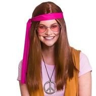 Bruine hippie pruik Woodstock met bril en hippie ketting