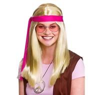 Blonde hippie pruik Woodstock met bril en hippie ketting