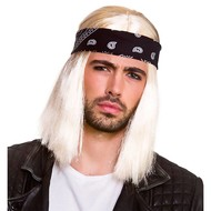 Heren pruik rocker Bennie met bandana