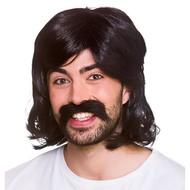 Zwarte pruik hippie Guy met snor