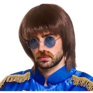 Pruik popster John met snor en bril