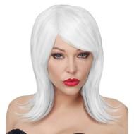 Witte pruik halflang haar Cosplay Noemi