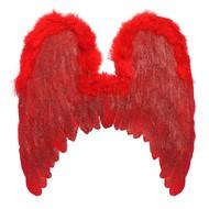 Rode vleugels met marabou en glitters