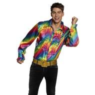 Regenboog shirt met ruches heren