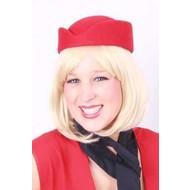 Stewardess hoed wolvilt rood