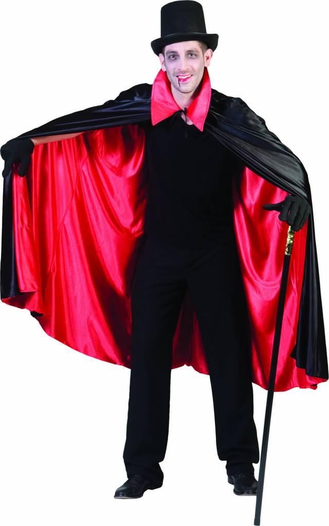 Zwart rode cape dubbelzijdig heren luxe