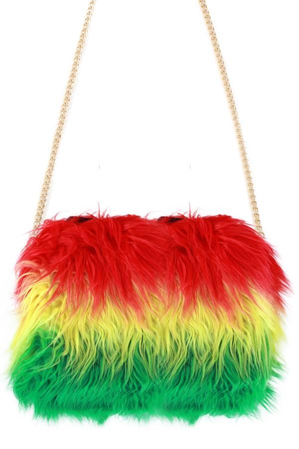 Tas rood/geel/groen lange pluche