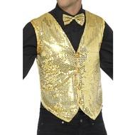Gouden heren gilet met glitters