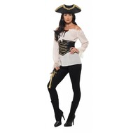Luxe piratenshirt dames wit