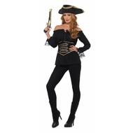 Luxe piratenshirt dames zwart
