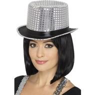 Zilveren hoge hoed met satijnen band