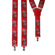 Rode Tiroler bretel met edelweiss
