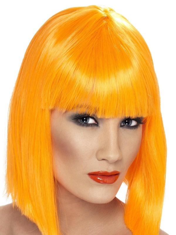 Mooie neon oranje pruik Glam