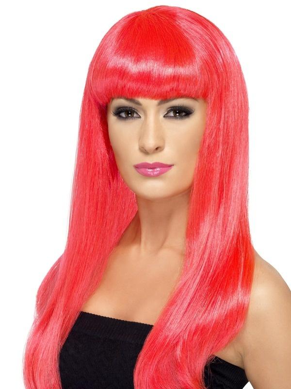 Mooie neon paarse pruik Babelicious lang haar