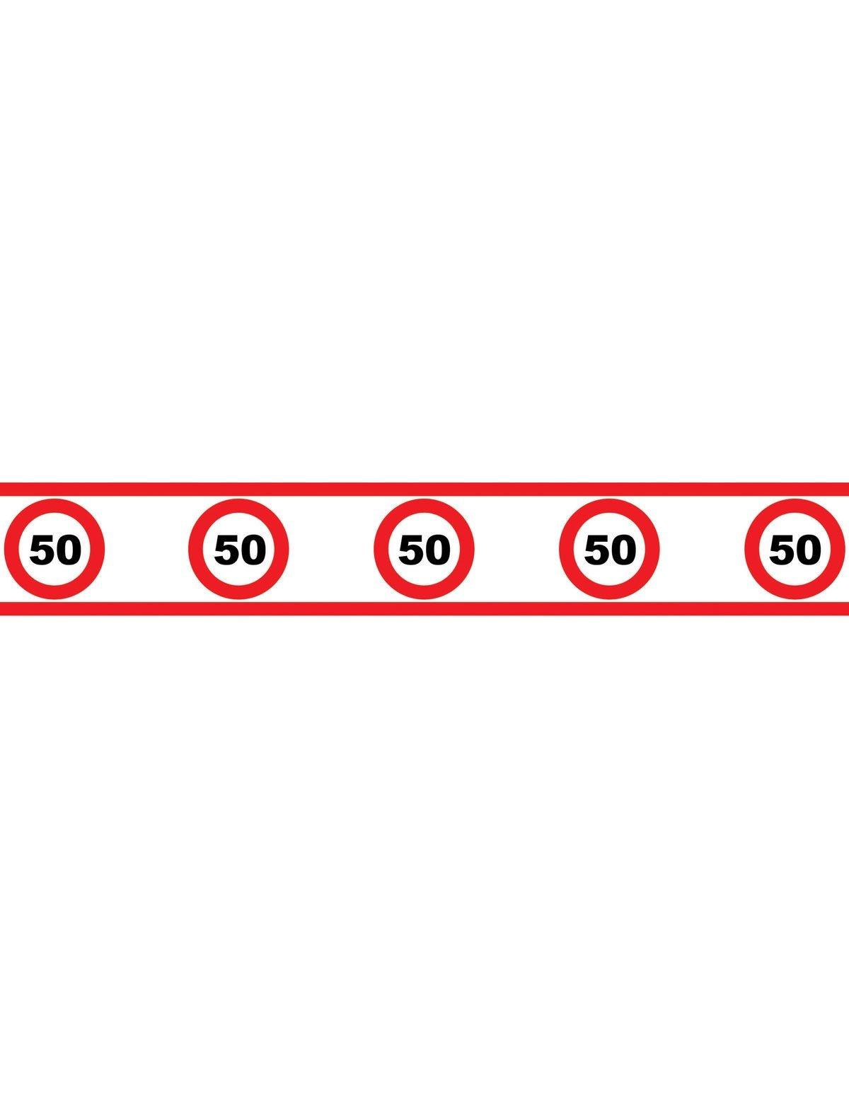 Party afzetlint 50 jaar met verkeersborden 610x8cm