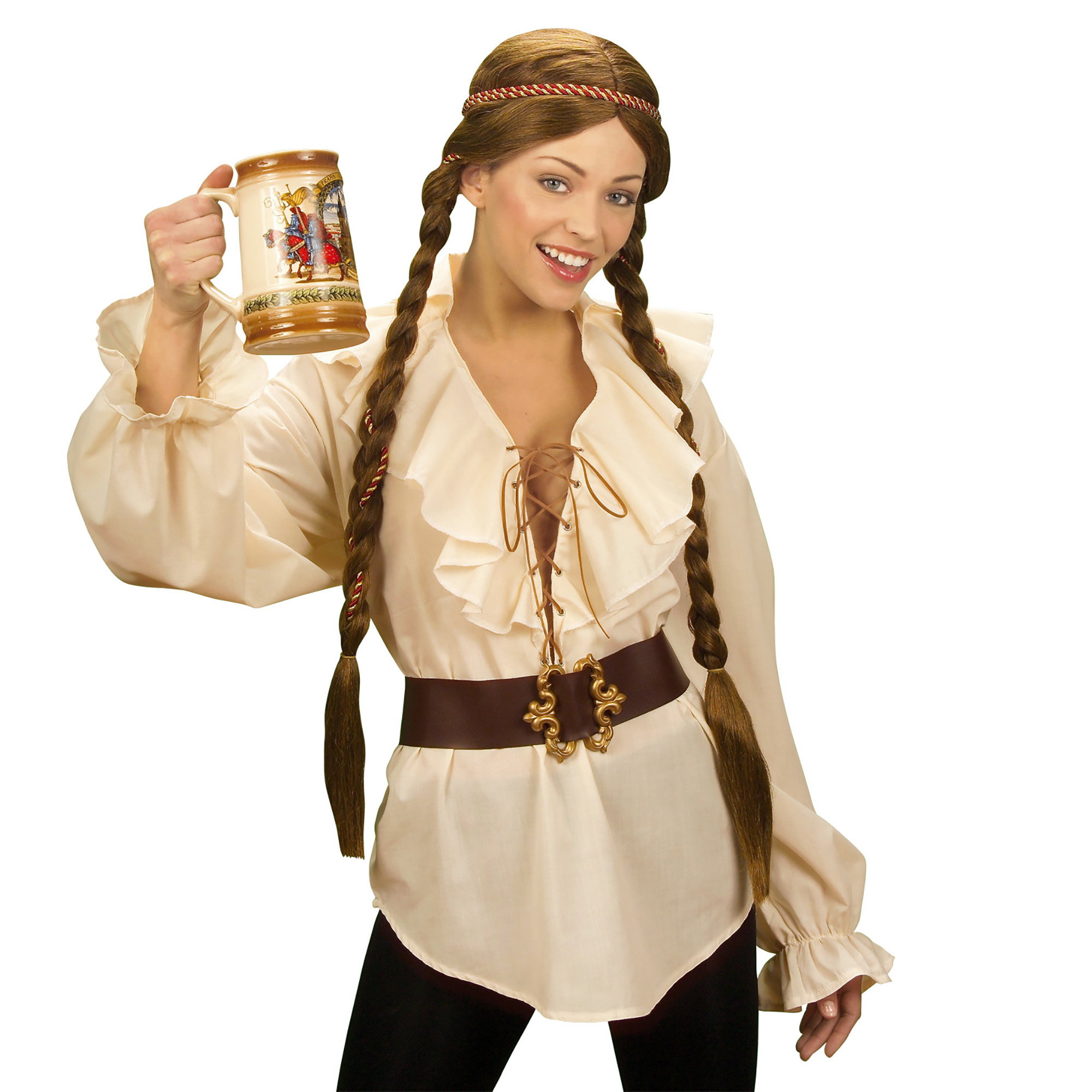 Carnavalskostuum Piratenshirt dames, beige
