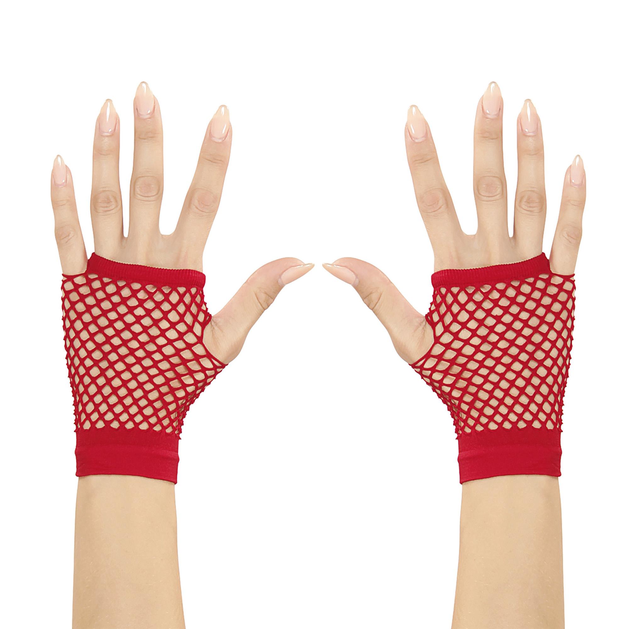 Accessoires voor Halloween rode vingerloze nethandschoenen